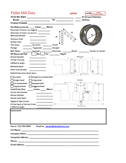 Download our Die Spec Form!